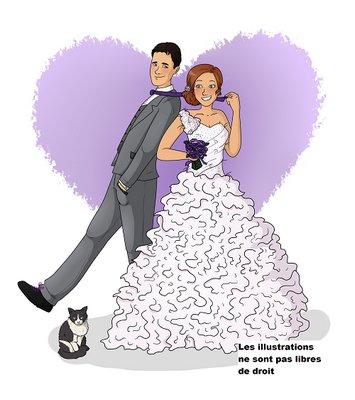 Creation illustration bd mariage, faire part de mariage