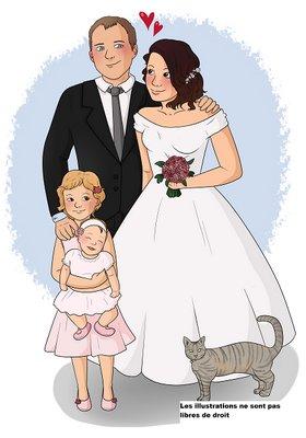 Creation illustration bd mariage famille